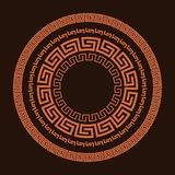 Traditional simple meander. Terrakota circle frame on the brown background. Ancient Greek ornament. stock illustration