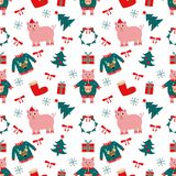 Seamless Vector pattern for Happy New Year. royalty free illustration