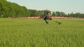 Особенный трактор для гербицида распыляя против засорителей, полей vulgare Hordeum ячменя, пестицидов поливки отравляющими вещест видеоматериал