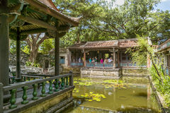 Особняк и сад семьи Lin Бен-юаней визируют взгляд, взгляд визирования бассейна Lili Стоковое Изображение RF