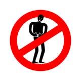 Остановите боль Человек дистресса запрета Красный дорожный знак запрета иллюстрация вектора