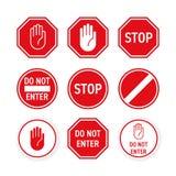 Остановите вектор дорожного знака красная рука вписывает жест иллюстрация штока