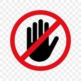 Остановите вектор знака руки никакой значок входа иллюстрация штока