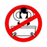 Остановите девушку в ванне Красный знак запрета опасности Мытье запрета Vec иллюстрация вектора