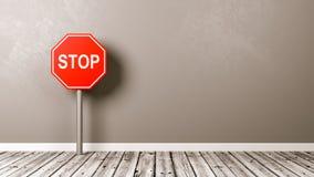 Остановите дорожный знак на деревянном поле иллюстрация вектора
