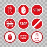 Остановите дорожный знак с жестом рукой Красный цвет вектора не вписывает знак уличного движения Знак направления символа запрета иллюстрация штока