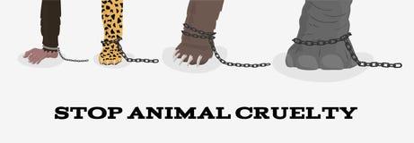 Остановите животную жестокость с обезьяной леопарда медведя слона в цепях Стоковая Фотография