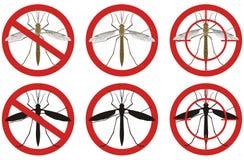 Остановите знаки москита Комплект знаков управлением насекомое-вредителя также вектор иллюстрации притяжки corel иллюстрация вектора