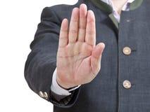 Остановите знак одной ладонью - жест рукой бизнесмена Стоковое Изображение RF