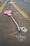 Остановите знак постучанный вниз Стоковые Фото
