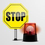 Остановите знак с мигающим огнем Стоковые Изображения RF