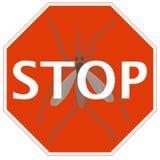 Остановите знак с москитом Стоковая Фотография RF