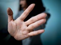 остановите знак с рукой Стоковое Изображение