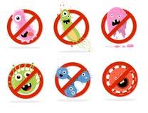 Остановите иллюстрацию вектора шаржа бактерий Стоковая Фотография