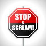 Остановите и scream знак уличного движения Стоковая Фотография RF