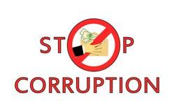 Остановите коррупцию Концепция передачи тени денег Взятка денег Спрятанные зарплаты в конверте без оплачивать налог иллюстрация штока