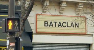 Остановите красный салатовый светлый театр Париж Bataclan сток-видео