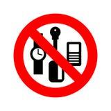 Остановите личные вещи Ключи и телефон запрета Карточки и часы иллюстрация вектора