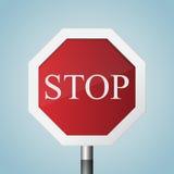 Остановите дорожный знак в реалистическом стиле также вектор иллюстрации притяжки corel иллюстрация штока