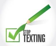остановите отправить СМС концепция знака контрольной пометки Стоковое Фото
