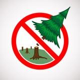 Остановите отрезать вниз с знака в реальном маштабе времени деревьев Стоковое Изображение