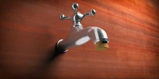 Остановите протекать Metal faucet преграженный с пробочкой на коричневой предпосылке стены иллюстрация 3d иллюстрация штока