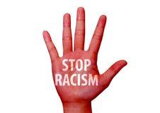 Остановите расизм написанный на руке стоковая фотография rf