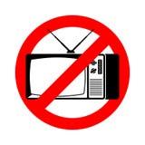 Остановите старое ТВ Новости запрета старые Запрещенная красная опасность дорожного знака иллюстрация вектора