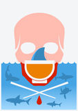 Остановите суп акулы finning Плакат цвета вектора подводный Стоковое Изображение