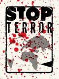 остановите террор Типографский плакат протеста grunge также вектор иллюстрации притяжки corel бесплатная иллюстрация