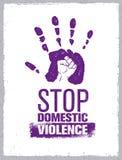 Остановите штемпель насилия в семье Творческая социальная концепция элемента дизайна вектора Печать руки с кулаком внутри значка  Стоковая Фотография