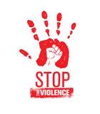 Остановите штемпель насилия в семье Творческая социальная концепция элемента дизайна вектора Печать руки с кулаком внутри значка  Стоковые Изображения