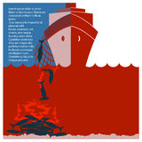 Остановите finning акулы и безопасная природу Рогулька вектора для текста Стоковая Фотография