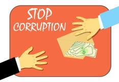 Остановить коррупцию, передача денег в конверте Противозаконный путь также вектор иллюстрации притяжки corel иллюстрация вектора