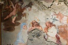Остатки барочных фресок в часовне около Cannobio Стоковые Фото
