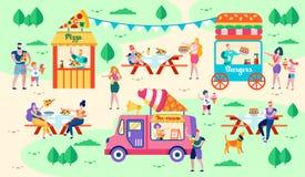 Остатки и еда в иллюстрации вектора парка города иллюстрация вектора
