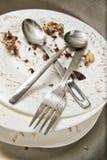 Остатки и пакостные тарелки Стоковые Фотографии RF