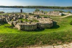 Остатки каменных стен старого замка Durostorum, Болгарии Стоковые Изображения