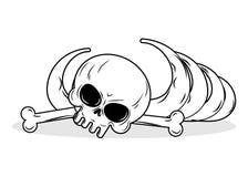 Остатки скелета Косточки и череп на белой предпосылке смерть иллюстрация вектора