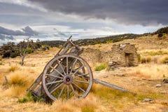 Остатки старых горнорабочих покинули городок, Bendigo, Новую Зеландию Стоковое Фото