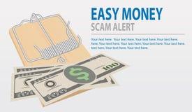 Остерегитесь афер, концепции легких денег Мышеловка вектора с деньгами изолированными на серой предпосылке иллюстрация штока