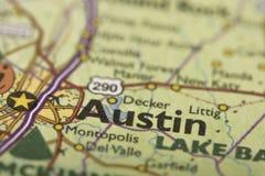 Остин, Техас на карте Стоковая Фотография