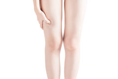 Острая боль в бедренной кости женщины изолированной на белой предпосылке Путь клиппирования на белой предпосылке Стоковые Фото
