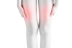 Острая боль в бедренной кости женщины изолированной на белой предпосылке Путь клиппирования на белой предпосылке Стоковые Изображения RF