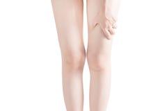Острая боль в бедренной кости женщины изолированной на белой предпосылке Путь клиппирования на белой предпосылке Стоковые Фотографии RF