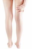 Острая боль в бедренной кости женщины изолированной на белой предпосылке Путь клиппирования на белой предпосылке Стоковое Изображение