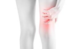 Острая боль в бедренной кости женщины изолированной на белой предпосылке Путь клиппирования на белой предпосылке Стоковое фото RF