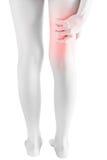 Острая боль в бедренной кости женщины изолированной на белой предпосылке Путь клиппирования на белой предпосылке Стоковое Фото