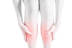 Острая боль в голени женщины изолированной на белой предпосылке Путь клиппирования на белой предпосылке Стоковые Фото