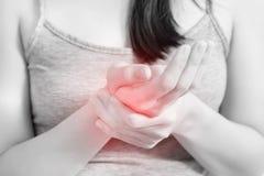Острая боль в запястье руки женщины на белой предпосылке Путь клиппирования на белой предпосылке стоковое изображение